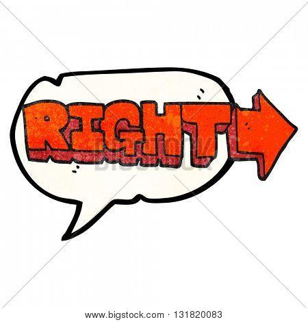 freehand speech bubble textured cartoon right symbol