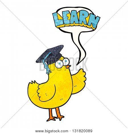freehand speech bubble textured cartoon bird with learn text