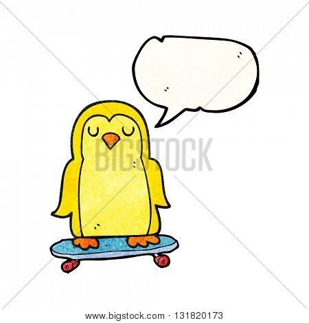 freehand speech bubble textured cartoon bird on skateboard