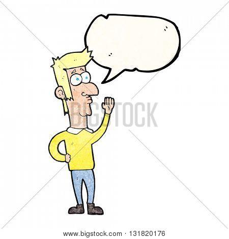 freehand speech bubble textured cartoon man waving
