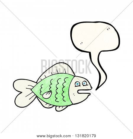 freehand speech bubble textured cartoon funny fish
