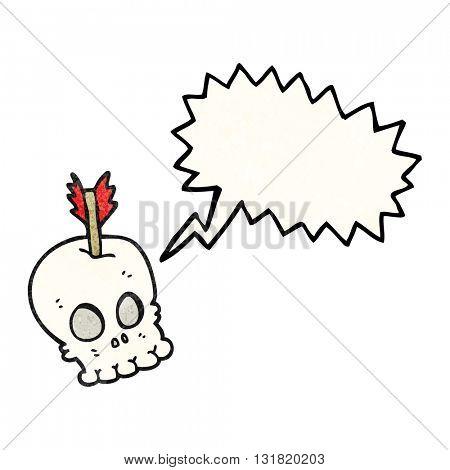 freehand speech bubble textured cartoon skull with arrow