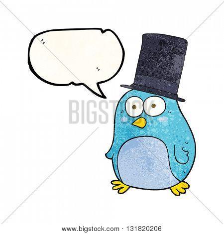 freehand speech bubble textured cartoon bird wearing top hat