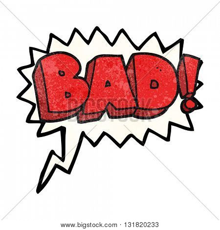 freehand speech bubble textured cartoon Bad symbol