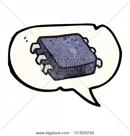 freehand speech bubble textured cartoon computer chip