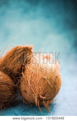 Whole Coco Nut On Vibrant Background