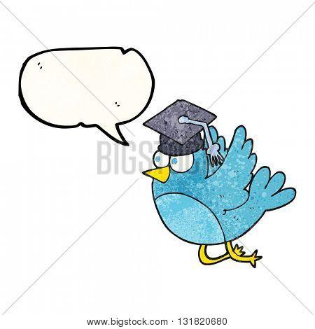 freehand speech bubble textured cartoon bird wearing graduation cap