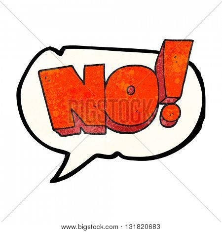 freehand speech bubble textured cartoon NO! shout
