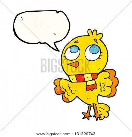 cute freehand speech bubble textured cartoon bird