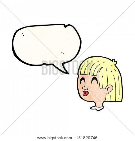 freehand speech bubble textured cartoon female face