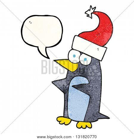 freehand speech bubble textured cartoon christmas penguin