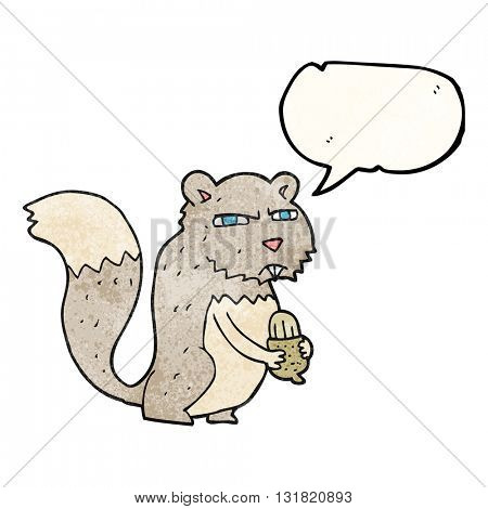 freehand speech bubble textured cartoon angry squirrel with nut