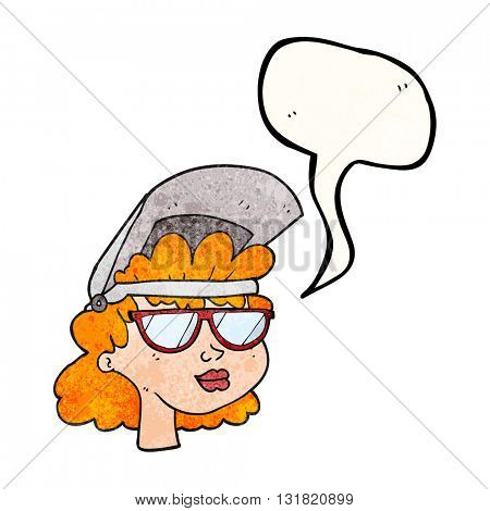 Freehand speech bubble textured cartoon woman with welding mask and glasses