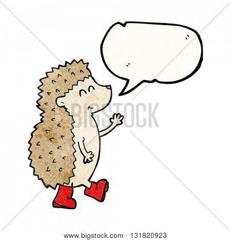 cute freehand speech bubble textured cartoon hedgehog