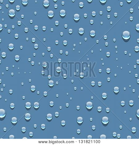 Water transparent drops seamless pattern. Rain drops. Condensed water blue background. Water drops scattered across the blue surface. Water drops seamless baskground. Vector illustration
