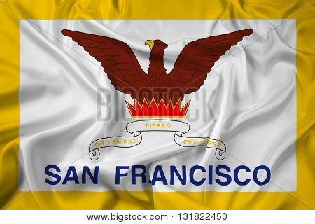 Waving Flag of San Francisco California, with beautiful satin background