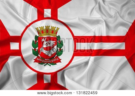 Waving Flag of Sao Paulo City, with beautiful satin background