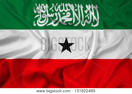 Waving Flag of Somaliland, with beautiful satin background