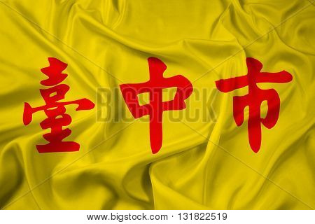 Waving Flag of Taichung Taiwan, with beautiful satin background