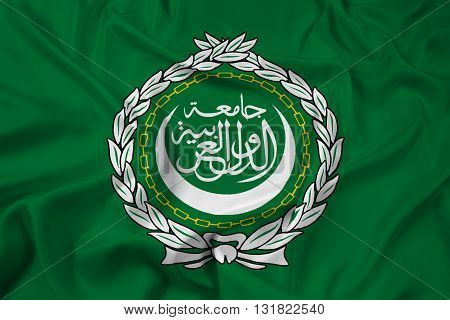 Waving Flag of the Arab League, with beautiful satin background