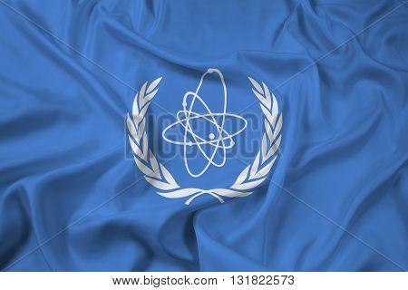 Waving Flag of the International Atomic Energy Agency (IAEA)