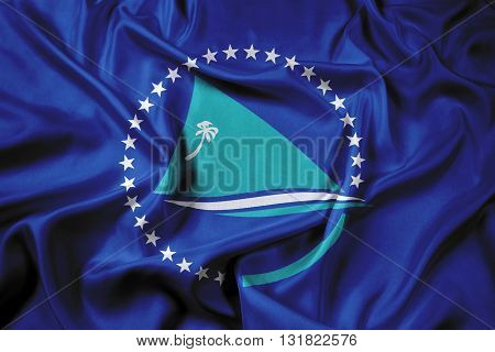 Waving Flag of the Pacific Community, with beautiful satin background