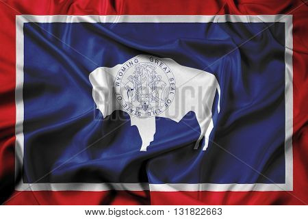 Waving Flag of Wyoming State, with beautiful satin background