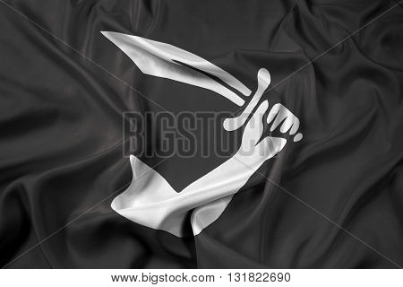 Waving Thomas Tew Pirate Flag, with beautiful satin background