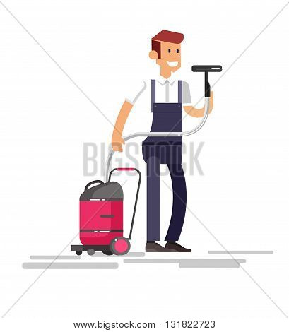 Poster design for cleaning service and supplies. Vector detailed character professional housekeeper. Cleaning kit icons. Vector cleaning. Illustration cleaning