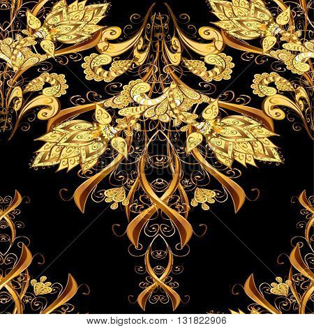 Abstract beautiful background with golden elements on black background