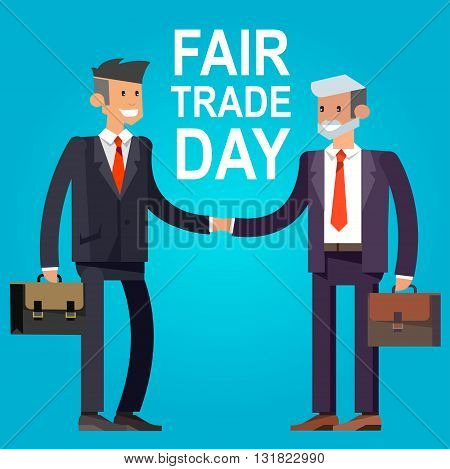 Digitally generated Fair Trade. Businessmen shaking hands. Vector illustration