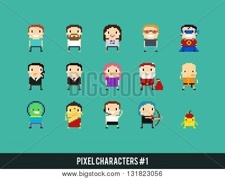 Set of different funky pixel art characters
