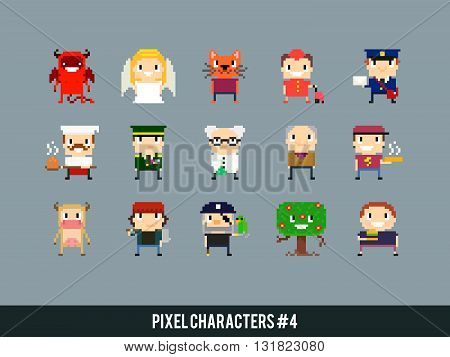 Set of different pixel art characters group