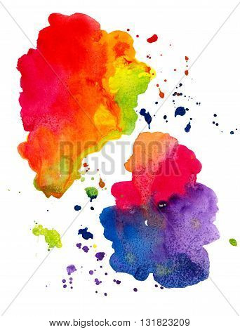 Colorful abstract watercolor spots isolated on white background. Hand painted watercolor illustration and paper texture