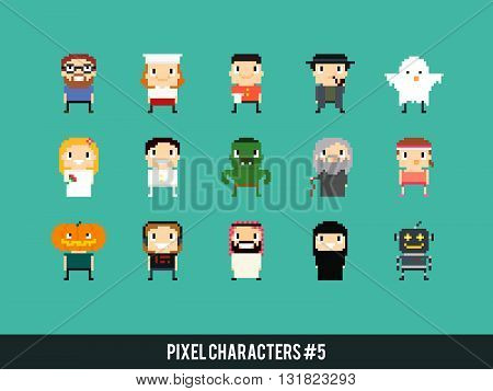 Different pixel art characters: cook waiter ghost bride and groom orc old mage arabian guy robot