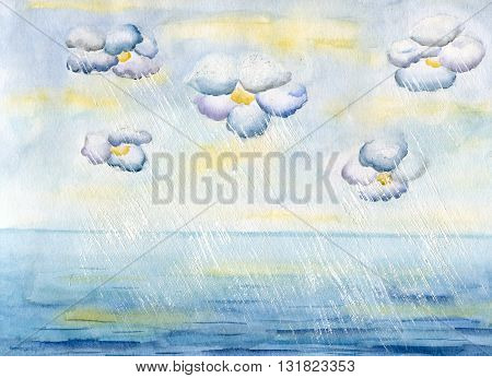 Clouds-flowers over sea and rainwater flows, hand painted watercolor illustration and paper texture