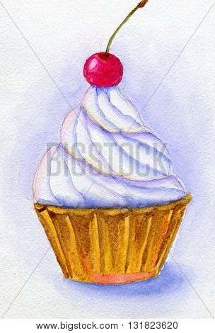 Cake with whipped cream and cherry. Hand painted watercolor illustration and paper texture