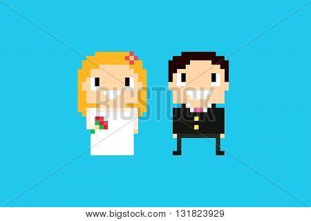 Pixel art wedding bride and groom smiling