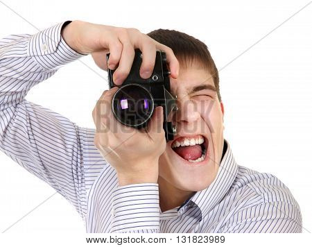 Teenager with Vintage Photo Camera Isolated on the White Background