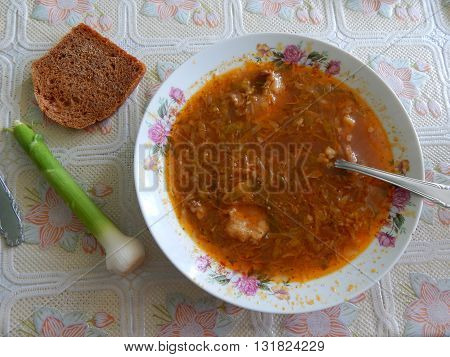 Eating food lunch soup, bread, still life