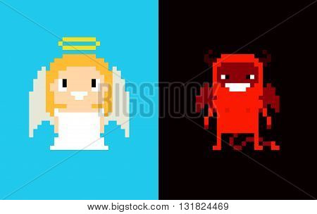 Pixel art angel and demon heaven and hell characters isolated on blue and dark background