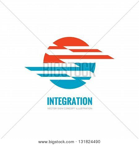 Integration - vector logo concept illustration. Abstract shape sphere business sign.