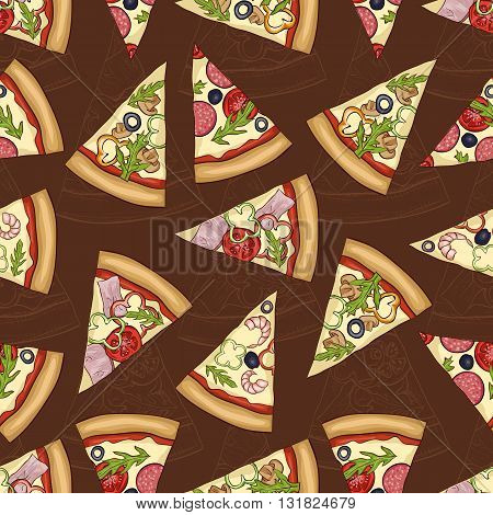 Seamless scetch and color pattern with four types of pizza on dark background. Vector illustration, EPS 10