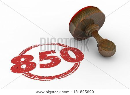 850 Top Credit Score Rating Number Stamp 3d Illustration