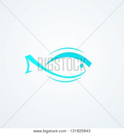 Abstract fish logo design vector illustration background