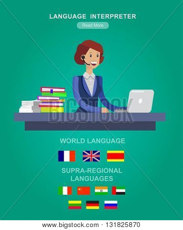 Vector detailed character Language translator concept with woman, world map with flags of world languages, Language translator  illustration. Vector Language translator