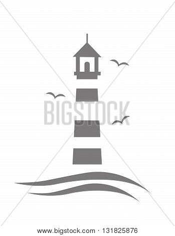 lighthouse illustration on white background art design