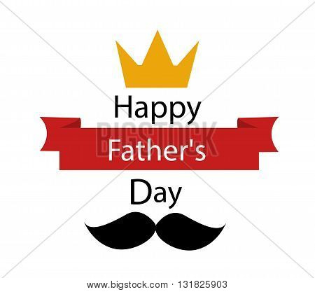 father's day greeting template illustration on white