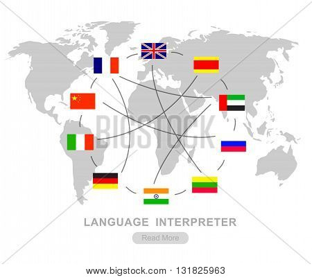 Vector detailed Language translator concept with flags of the world languages, cool flat  illustration