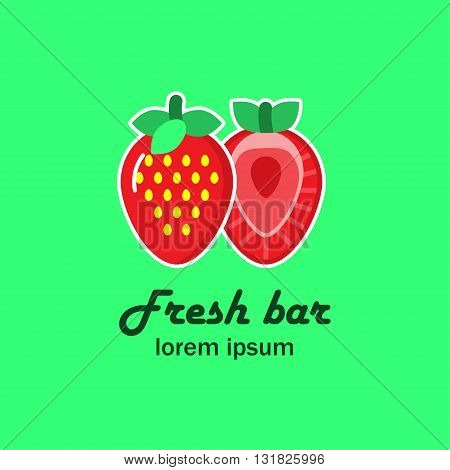 The logo with the image of two strawberries. Flat strawberry and a strawberry in the section. It can be used for fresh juice bar, fruit shop, restaurant. Vector illustration.
